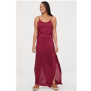 H&M Burgundy Purple Maxi Slit Flowy Long Dress XS
